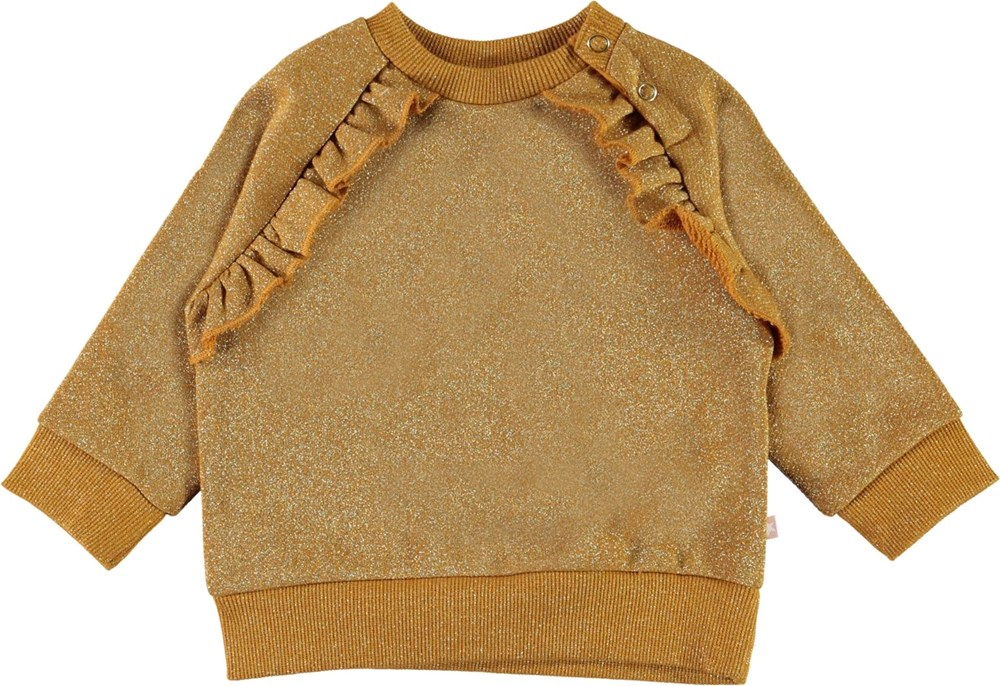 Dayna - Gold Leaf - Yellow glitter baby top