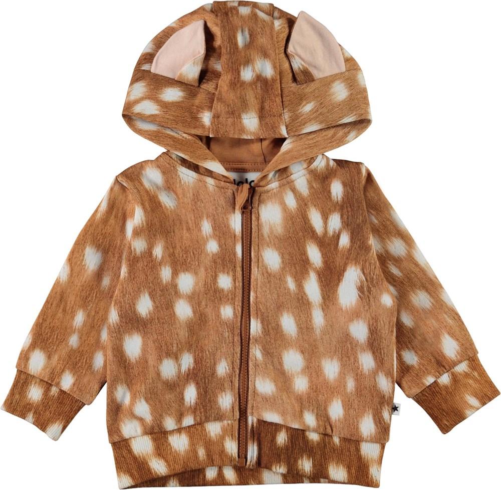 Demi - Fawn AOP - Brown organic baby sweatshirt with ears