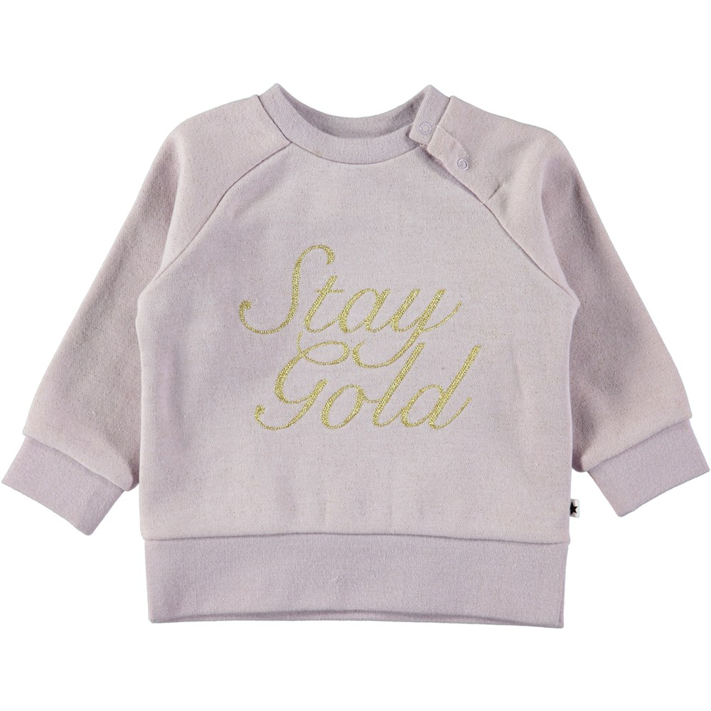Demi - Lilac - Purple baby sweatshirt with gold coloured text