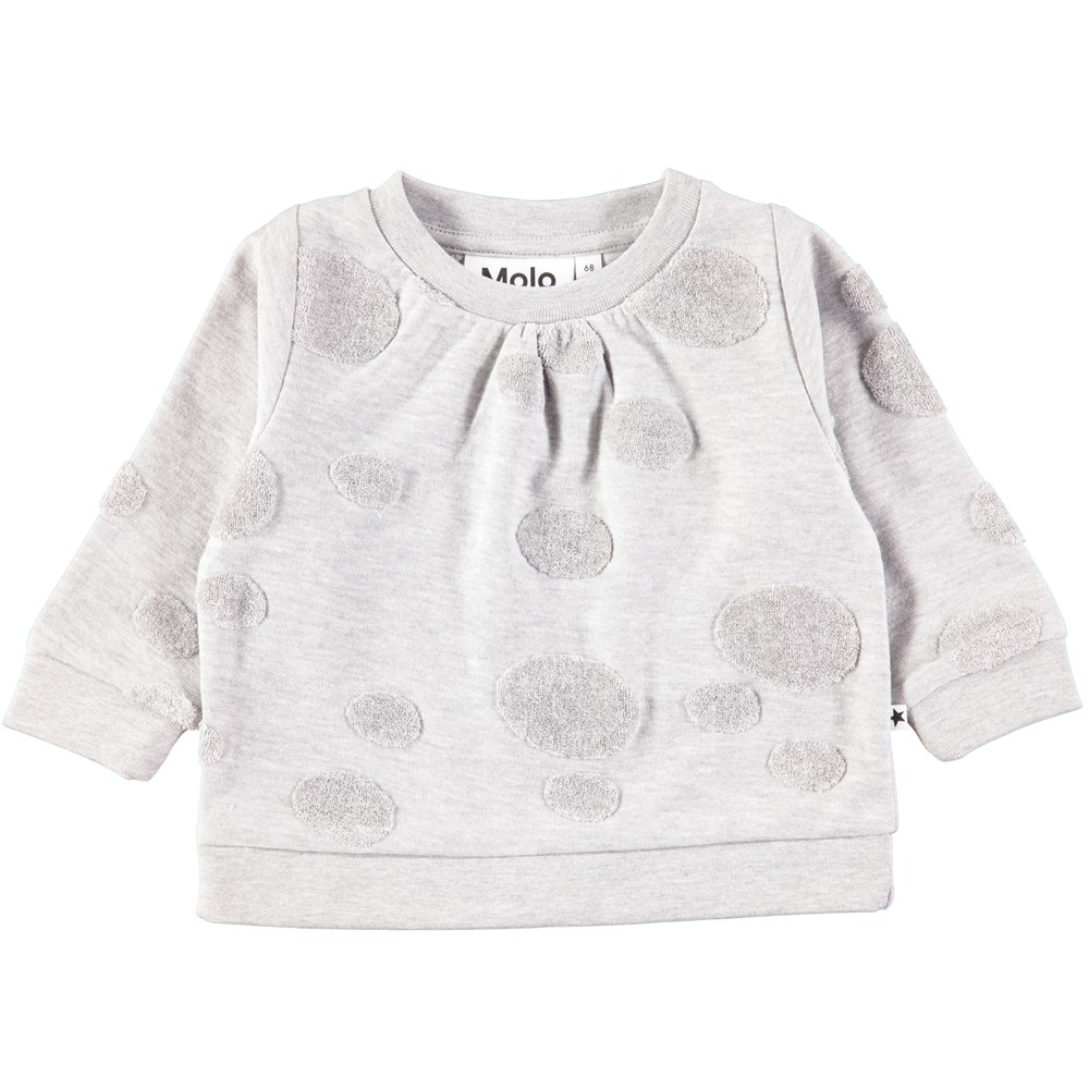 Dena - Light Grey Melange - Grey baby sweatshirt with terry dots
