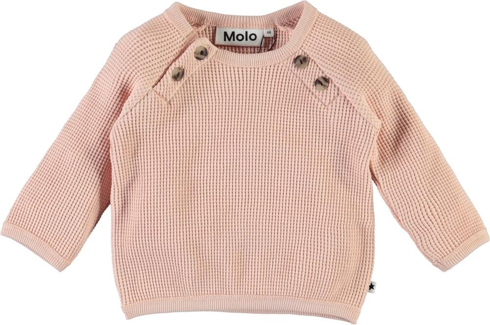 Dolly - Petal Blush - Rose, organic waffle knit baby sweatshirt
