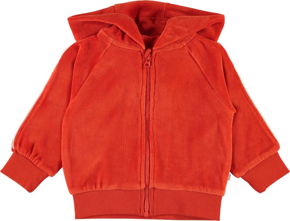 Dorothy - Rising Sun - Red velour baby hoodie