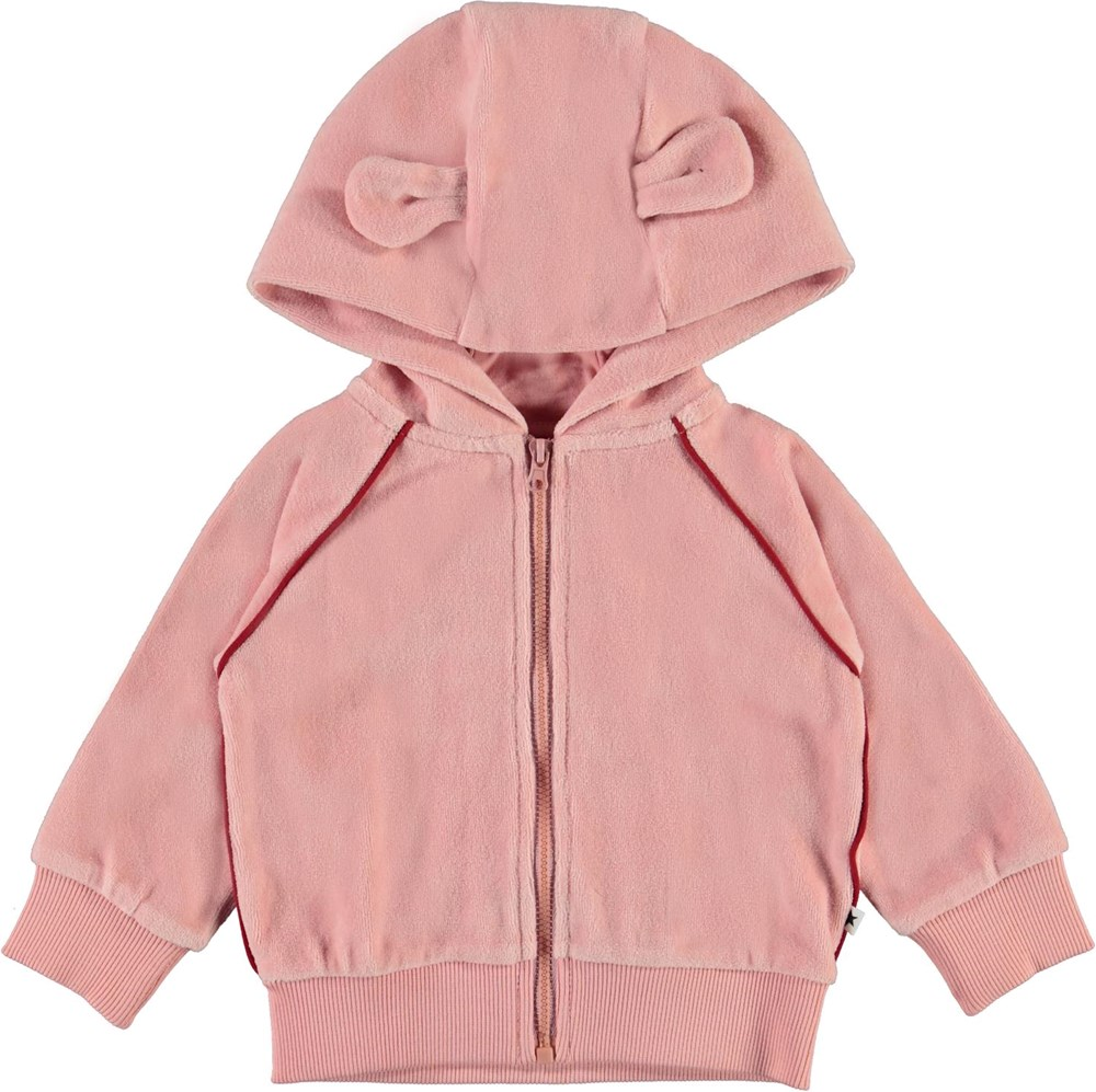 Dorothy - Rosequartz - Pink velour baby hoodie with small ears