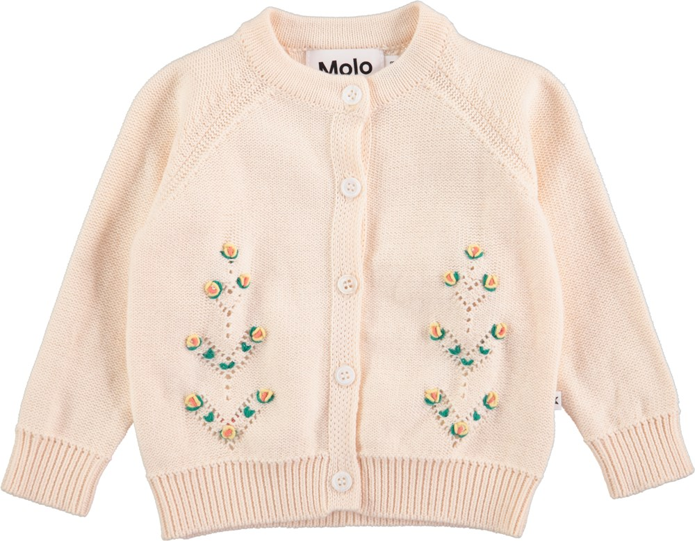 Georgette - Pearled Ivory - Long sleeve, knit baby cardigan in pink