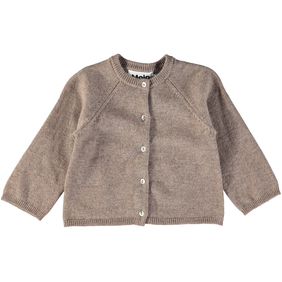 Ginger - Oatmeal Melange - Brown baby cardigan in wool and cashmere