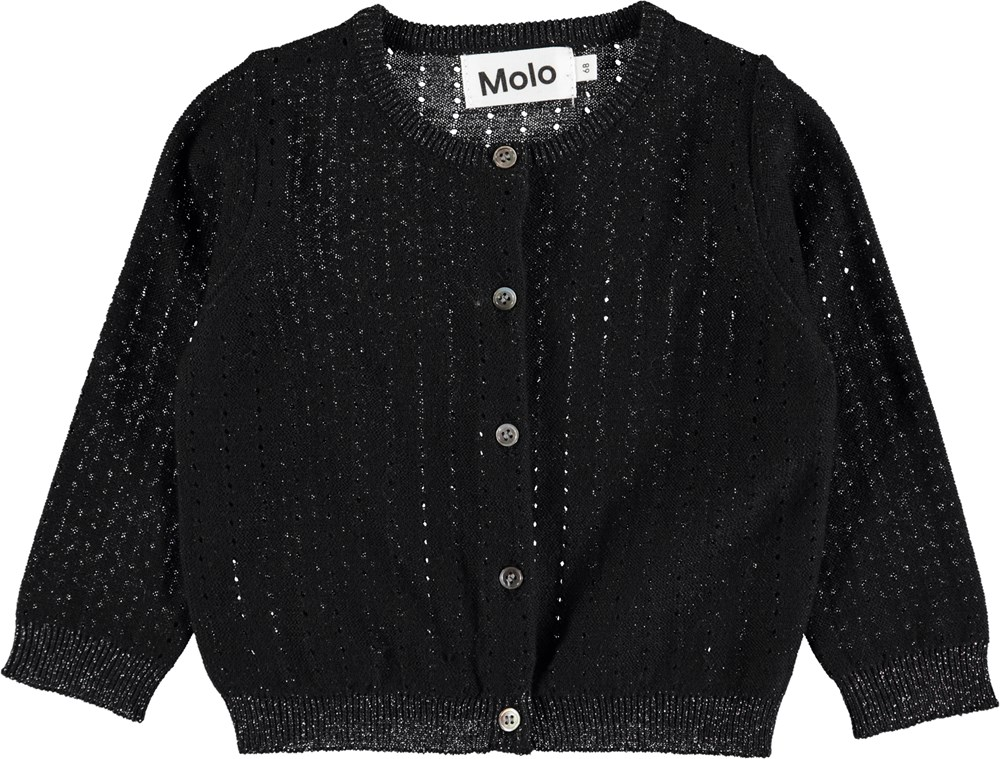 Ginny - Black - Knit baby cardigan in black cotton