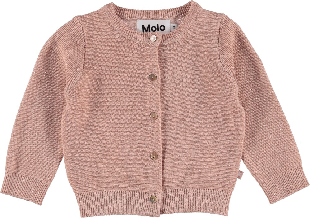 Ginny - Cameo Rose - Baby knit cardigan in cotton.