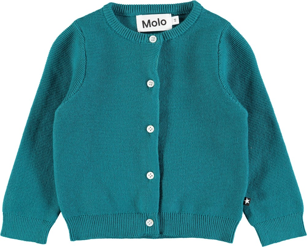 Ginny - Deep Sea - Long sleeve, tightly knit baby cardigan in blue-green cotton