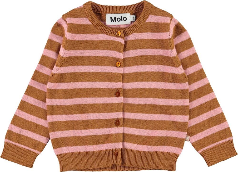 Ginny - Deer Rose Stripe - Brown and pink and striped cardigan