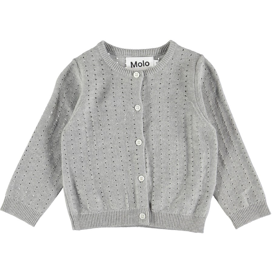 Ginny - Grey Melange - Knit baby cardigan in grey cotton