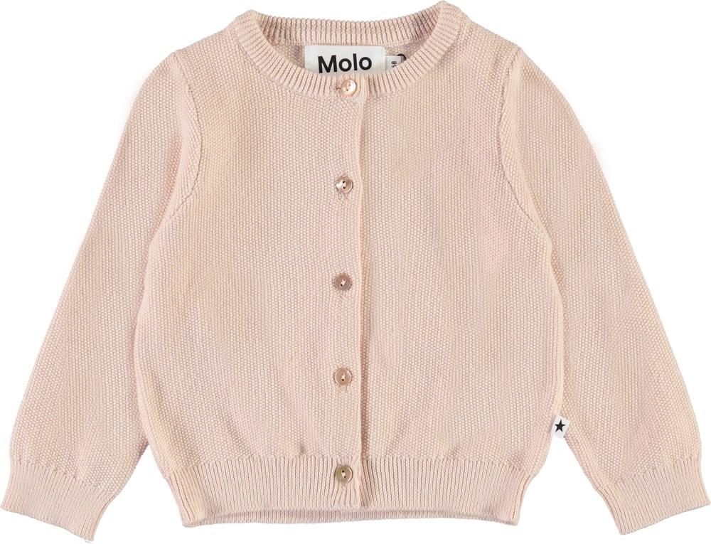 Ginny - Peach Blossom - Knit rose coloured baby cardigan