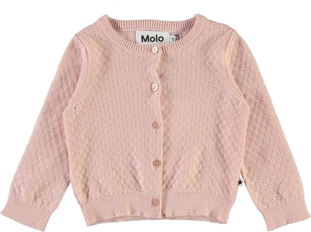 Ginny - Petal Blush - Rose knit baby cardigan