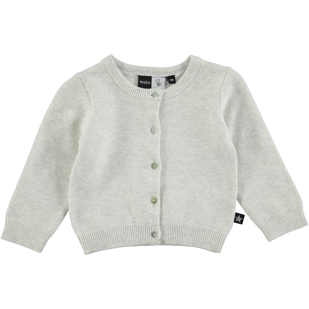 Ginny - Snow Melange - long sleeve grey baby cotton cardigan