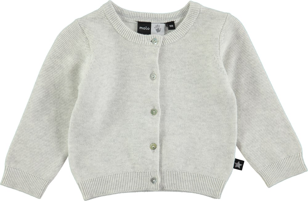 Ginny - Snow Melange - long sleeve grey baby cotton cardigan