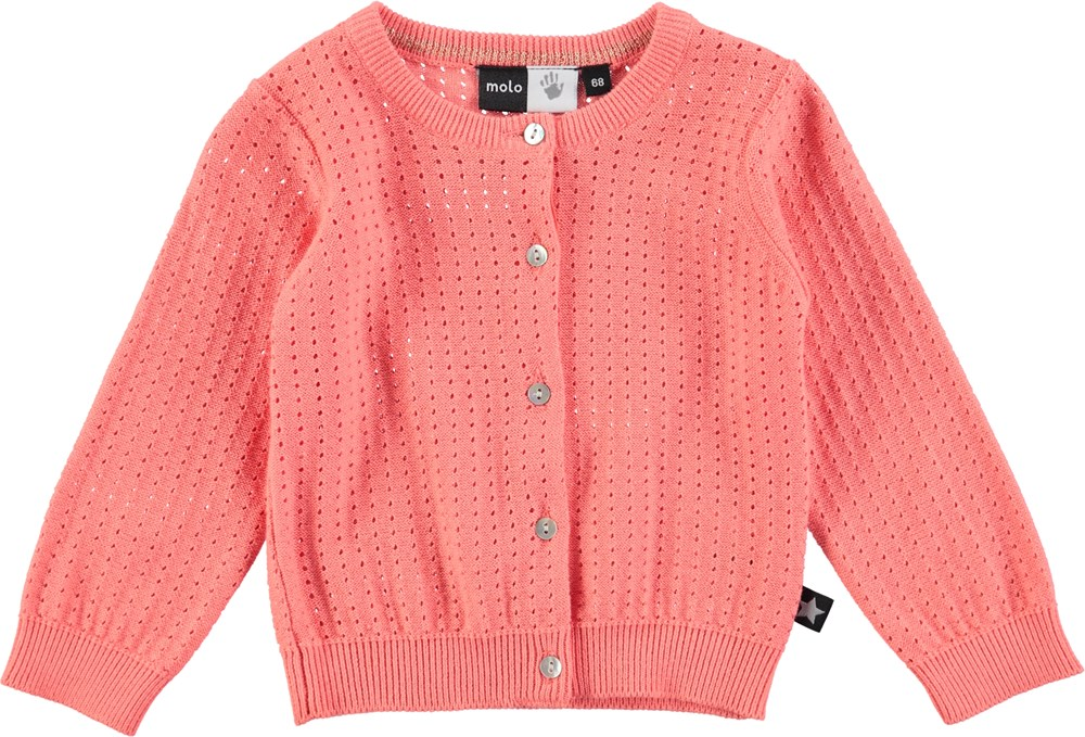 Ginny - Spicy Pink - long sleeve baby cardigan with a needle out pattern