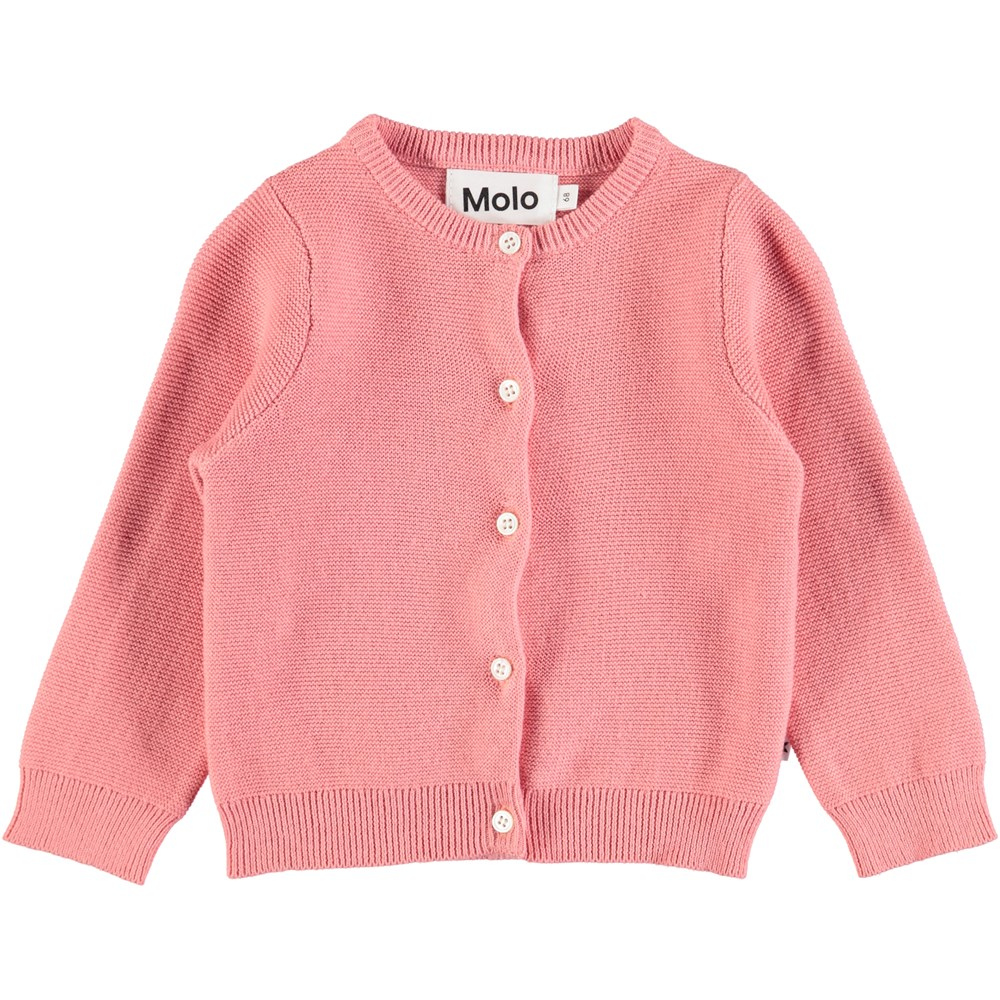 Ginny - Tea Rose - Long sleeve, tightly knit baby cardigan in dark rose coloured cotton