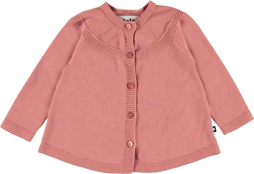 Gisela - Desert Sand - Dark rose knit baby cardigan