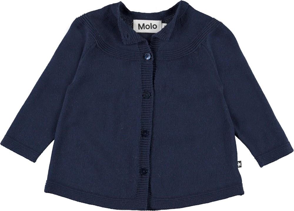 Gisela - Peacoatforest Dinos - Baby cotton cardigan in dark blue