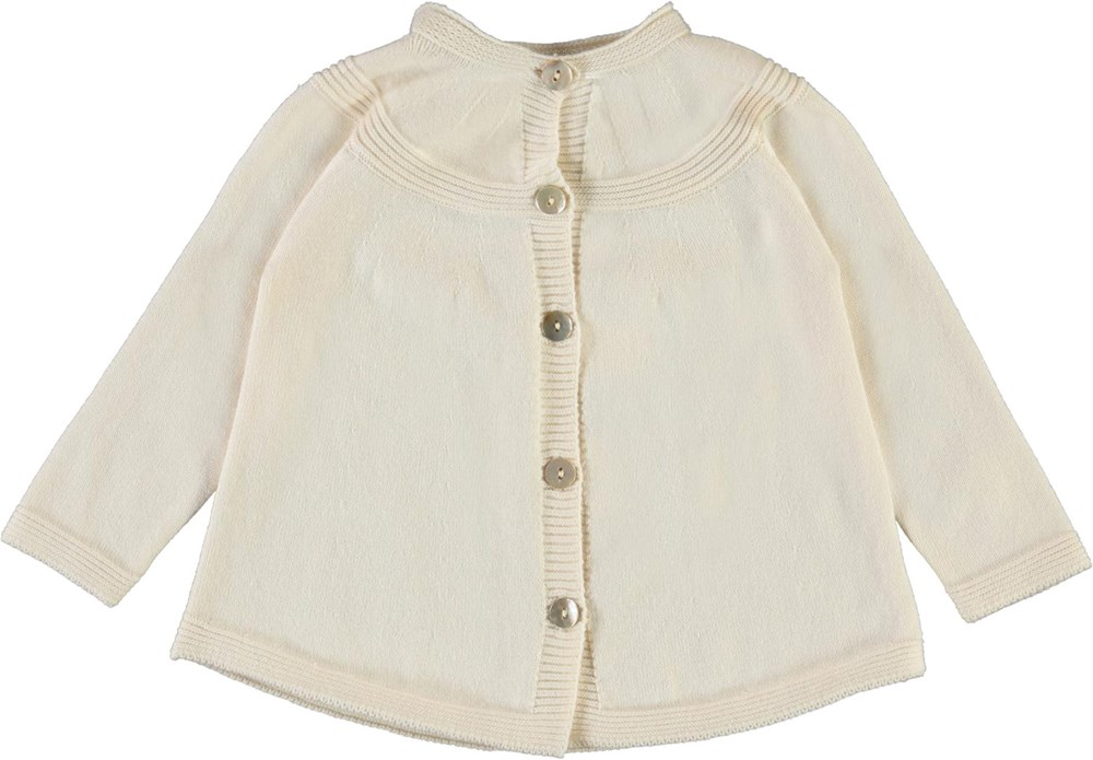 Gisela - Pearled Ivory - Mother of pearl baby cardigan