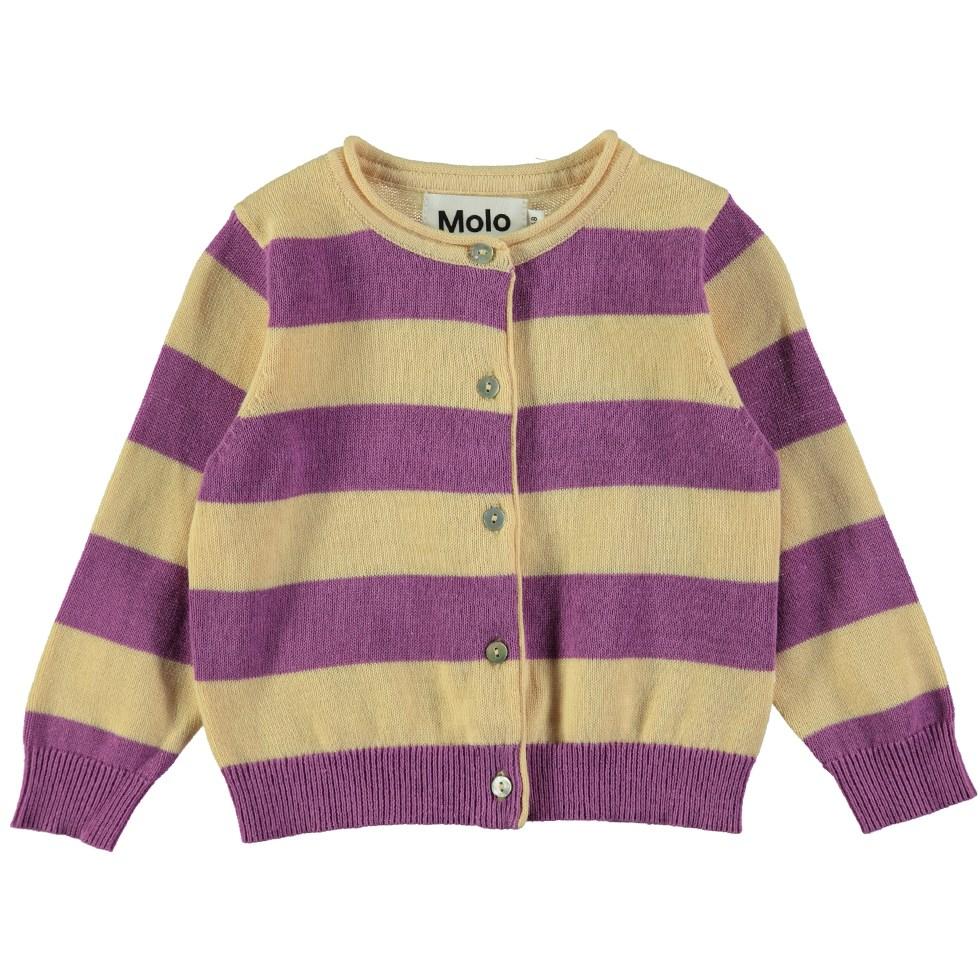 Glenda - Hyacinth Stripe - Long sleeve striped baby cardigan