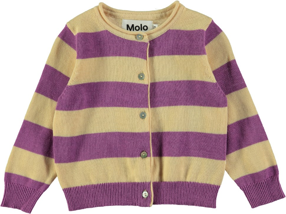 Glenda - Hyacinth Stripe - Long sleeve striped baby cardigan