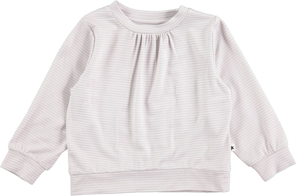 Effie - Pearled Blue - Long sleeve striped baby t-shirt