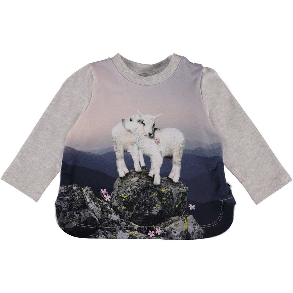 Eline - Mountain Top - Grey baby top with print.
