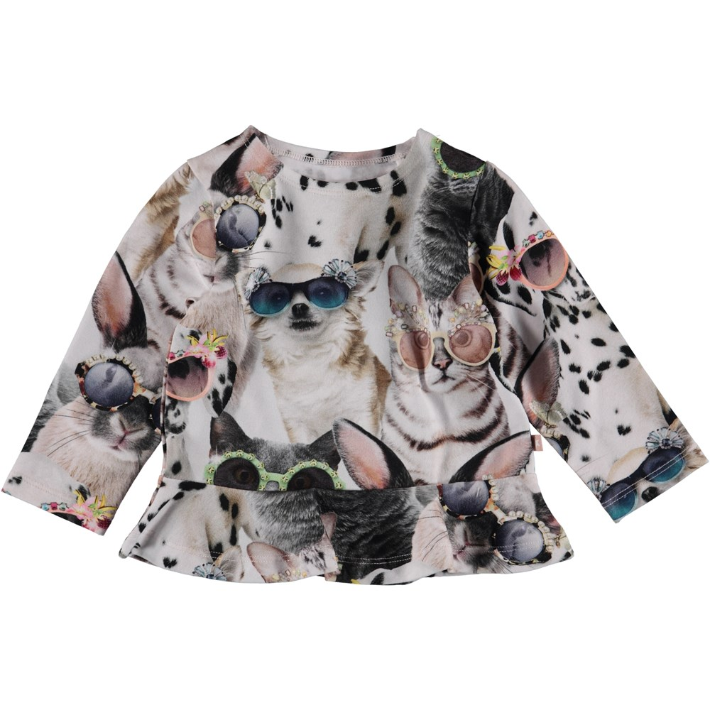Elisabeth - Sunny Funny - Baby top with animal print and peplum.