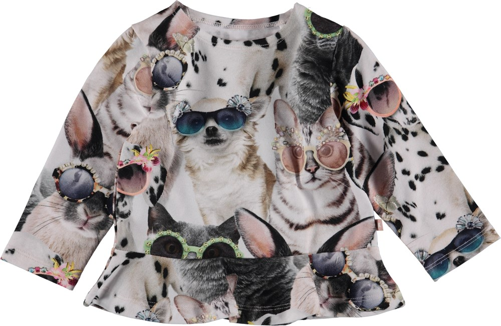 Elisabeth - Sunny Funny - Baby top with animal print and peplum.
