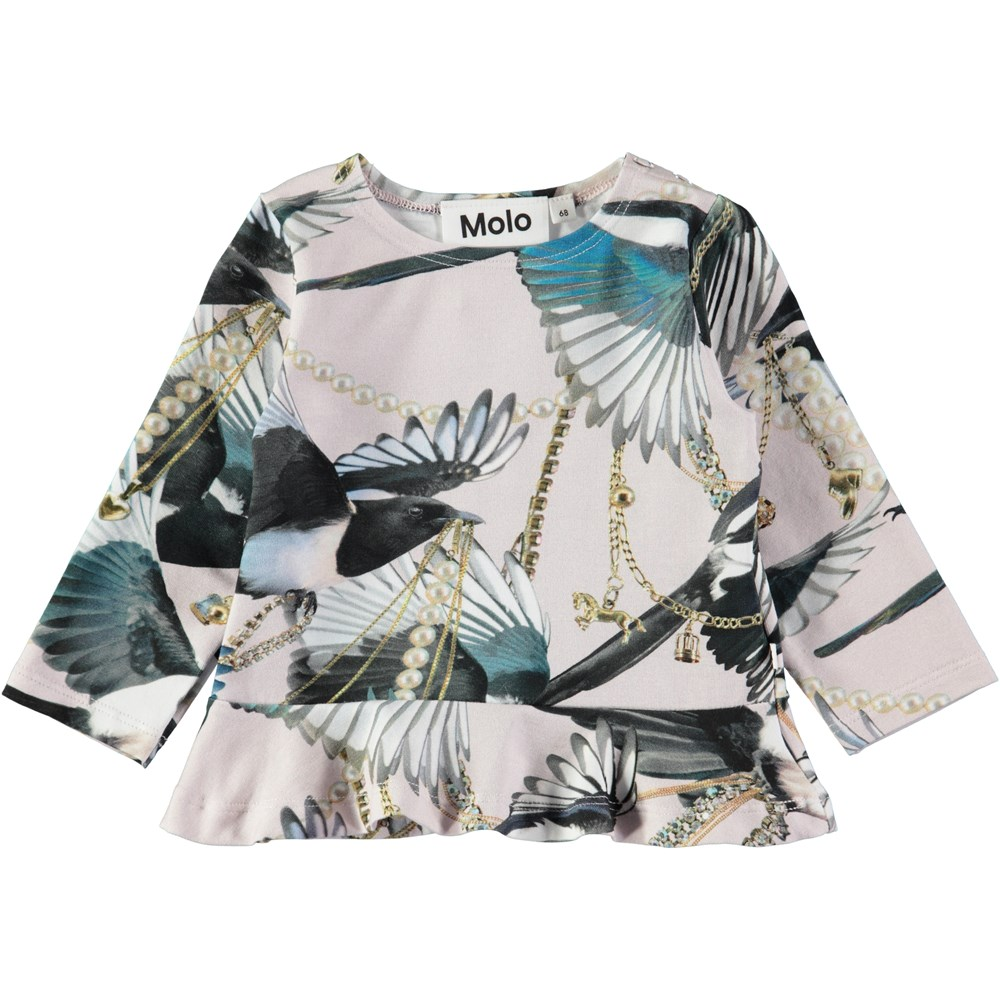 Elisabeth - Treasure Hunters - Baby top with skirt and digital magpie print
