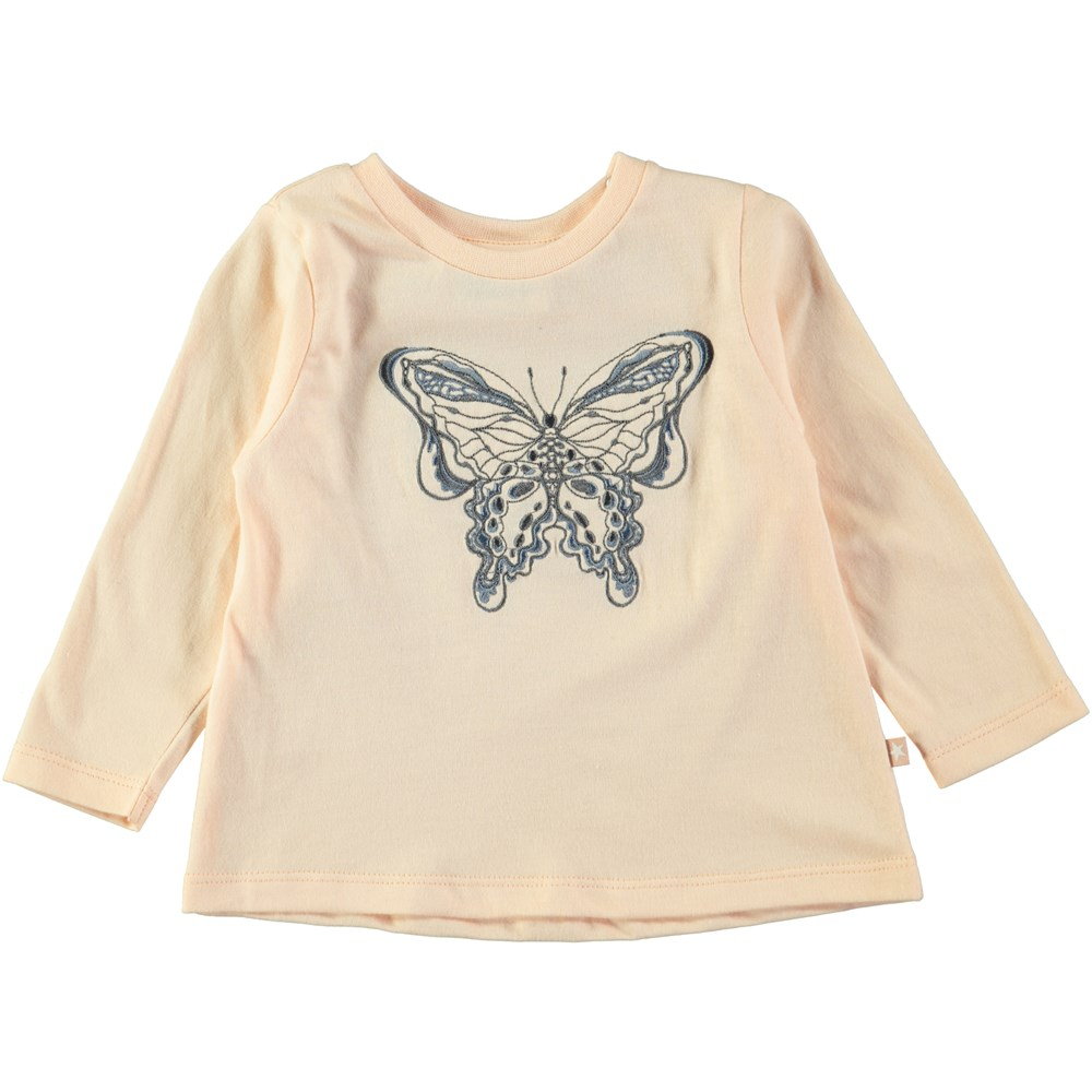 Ella - Dawn - Powder coloured baby top with butterfly embroidery