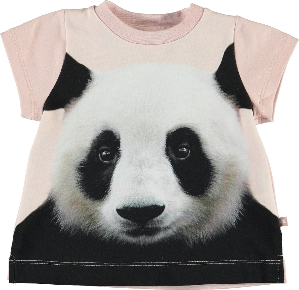 Elly - Baby Pandis - Pink baby t-shirt with panda