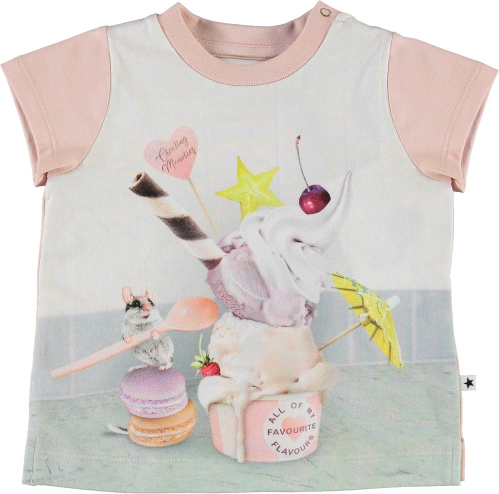 Elly - Little Treat - Organic baby t-shirt with ice cream