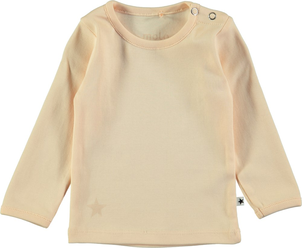 Elona - Peach Puff - Peach coloured basic baby t-shirt with long sleeves