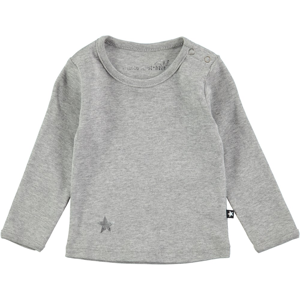Elona - Grey Melange - Long sleeve t-shirt with snaps