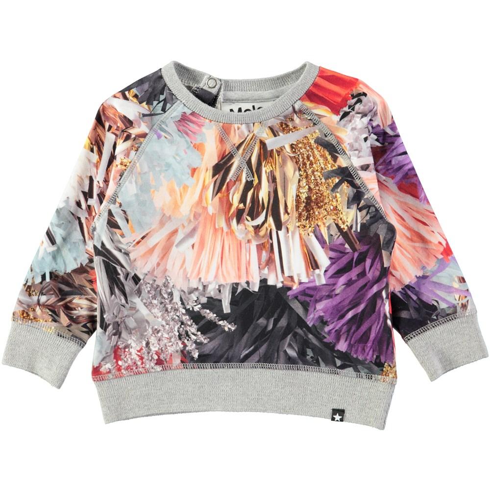 Elsa - Celebration - Baby top in a sweatshirt look with digital print of festive tassles