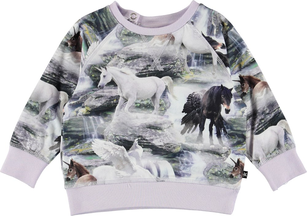 Elsa - Mythical Creatures - Purple baby top with horses.