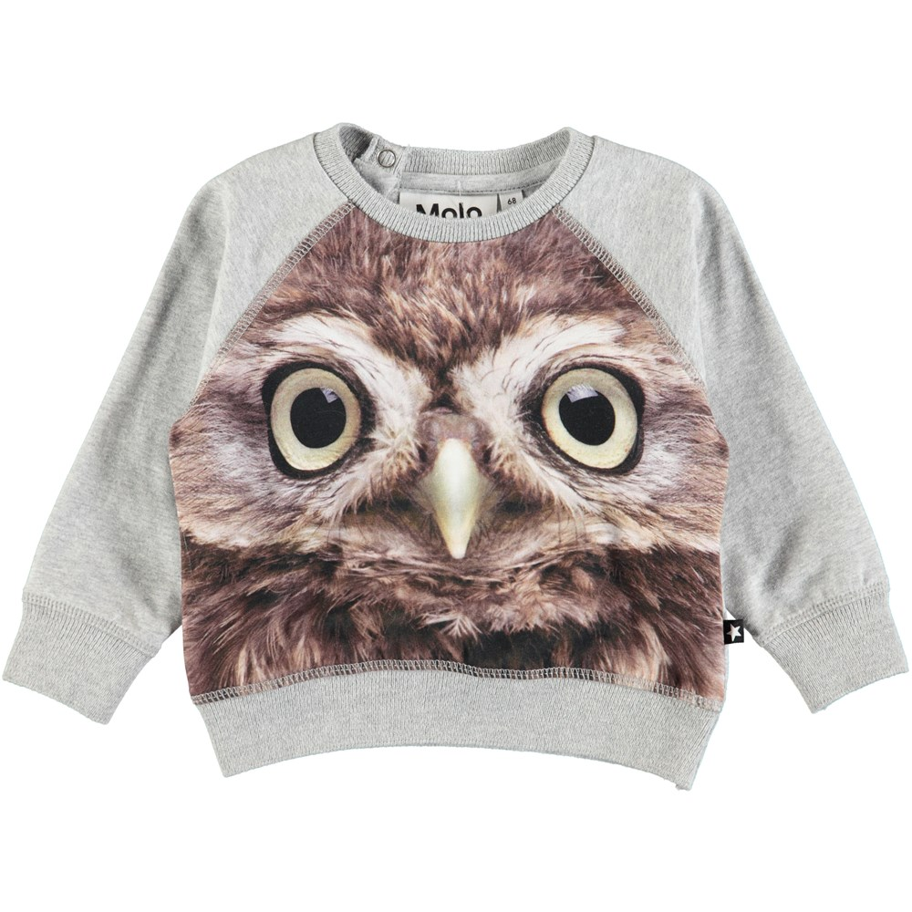 Elsa - Owl Baby - Long sleeve, grey baby top with digital owl print