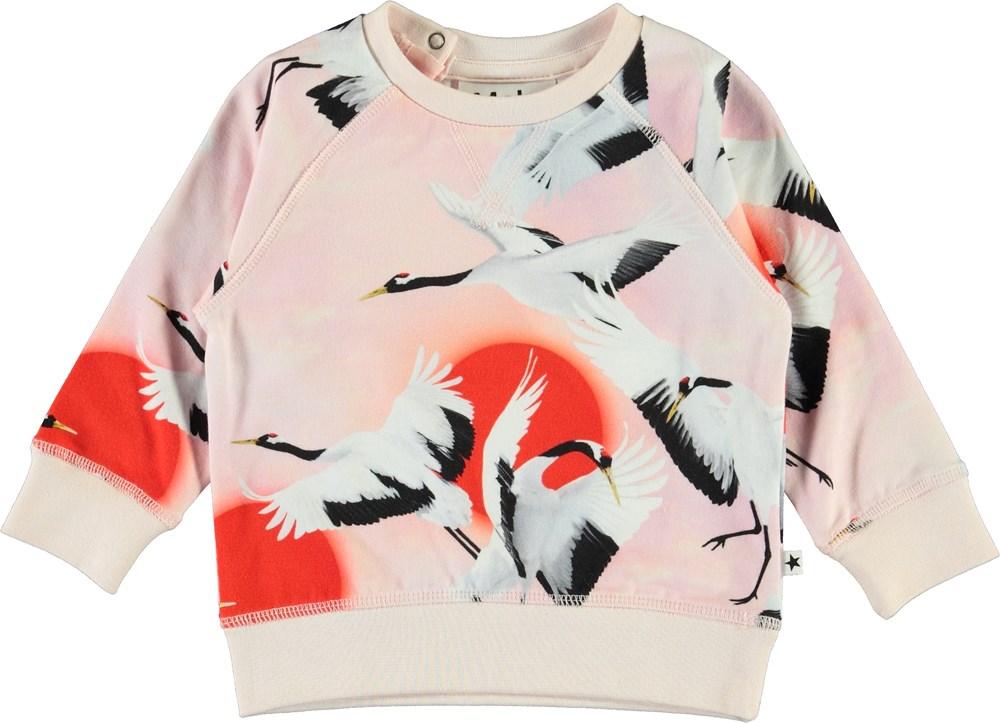 Elsa - Sunrise Cranes - Organic baby top with birds