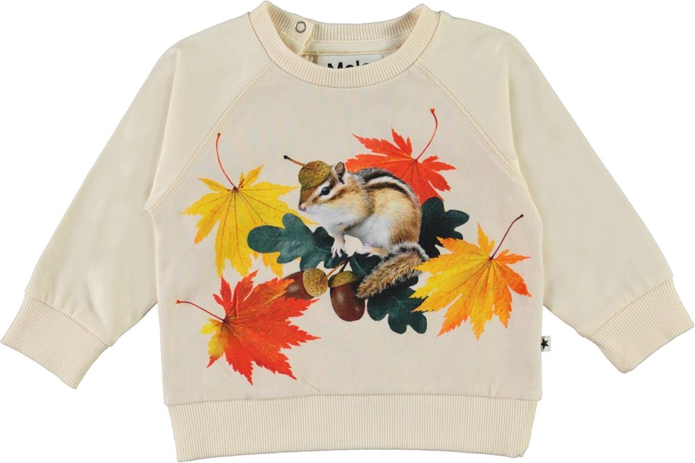 Elsa - Tiny Chipmunks - Organic baby top with squirrel and leaves