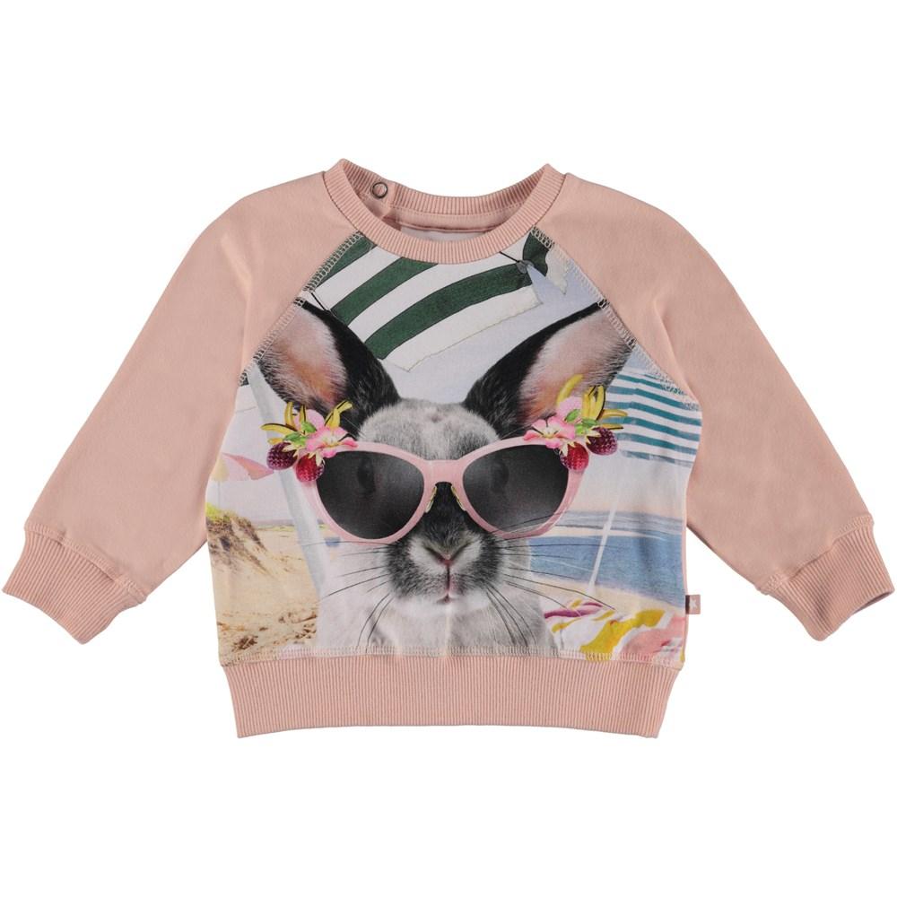 Elsa - Vacation Bunny - Rose baby sweatshirt with print.