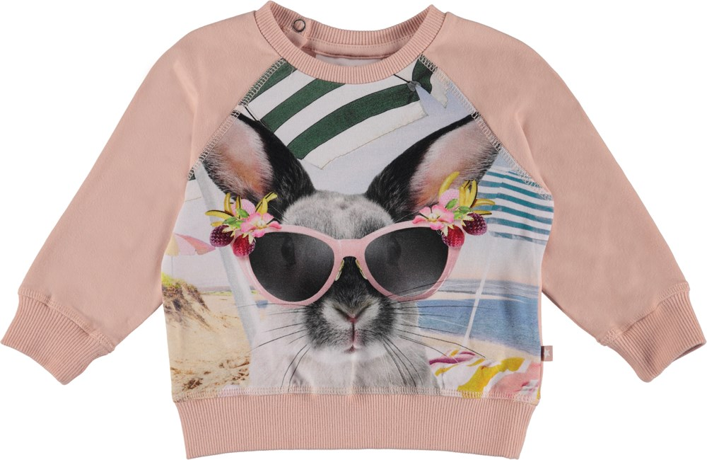 Elsa - Vacation Bunny - Rose baby sweatshirt with print.