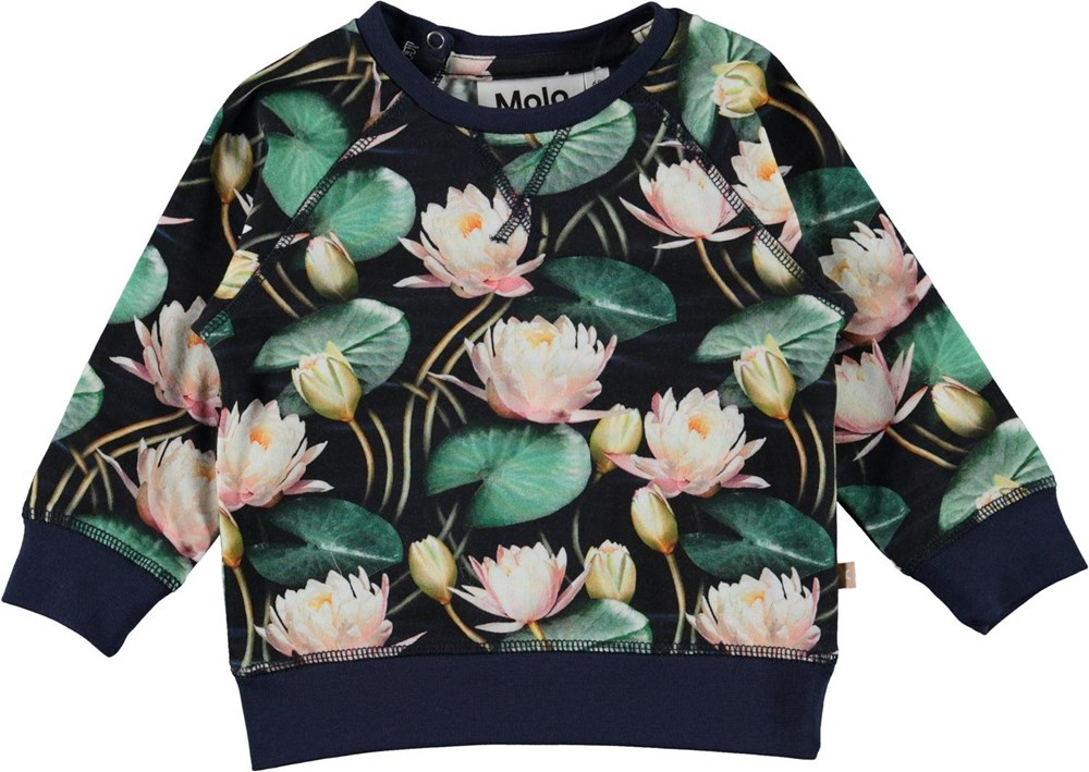 Elsa - Water Lilies - Organic baby top with water lily print