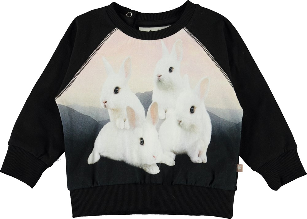 Elsa - White Bunnies - Black organic baby top with bunnies