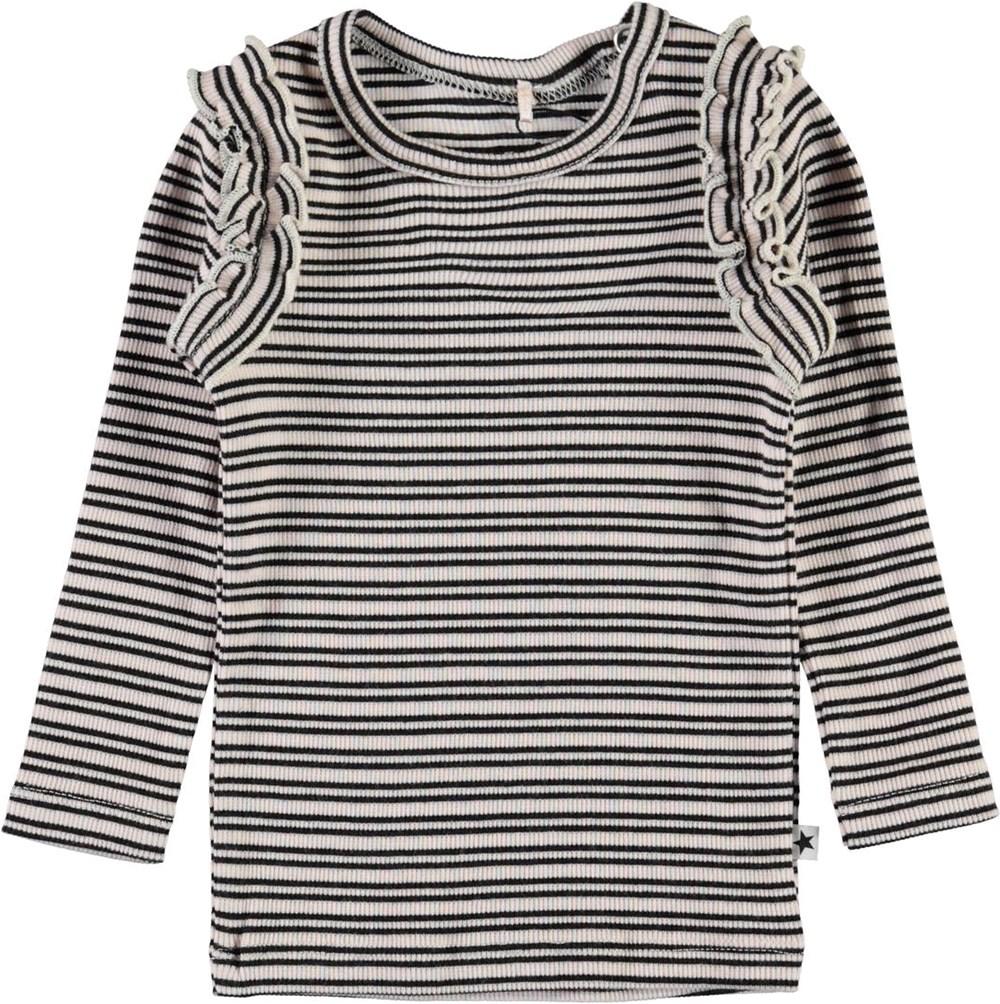 Emma - Blossom Black Stripe - Baby top in rib and stripes