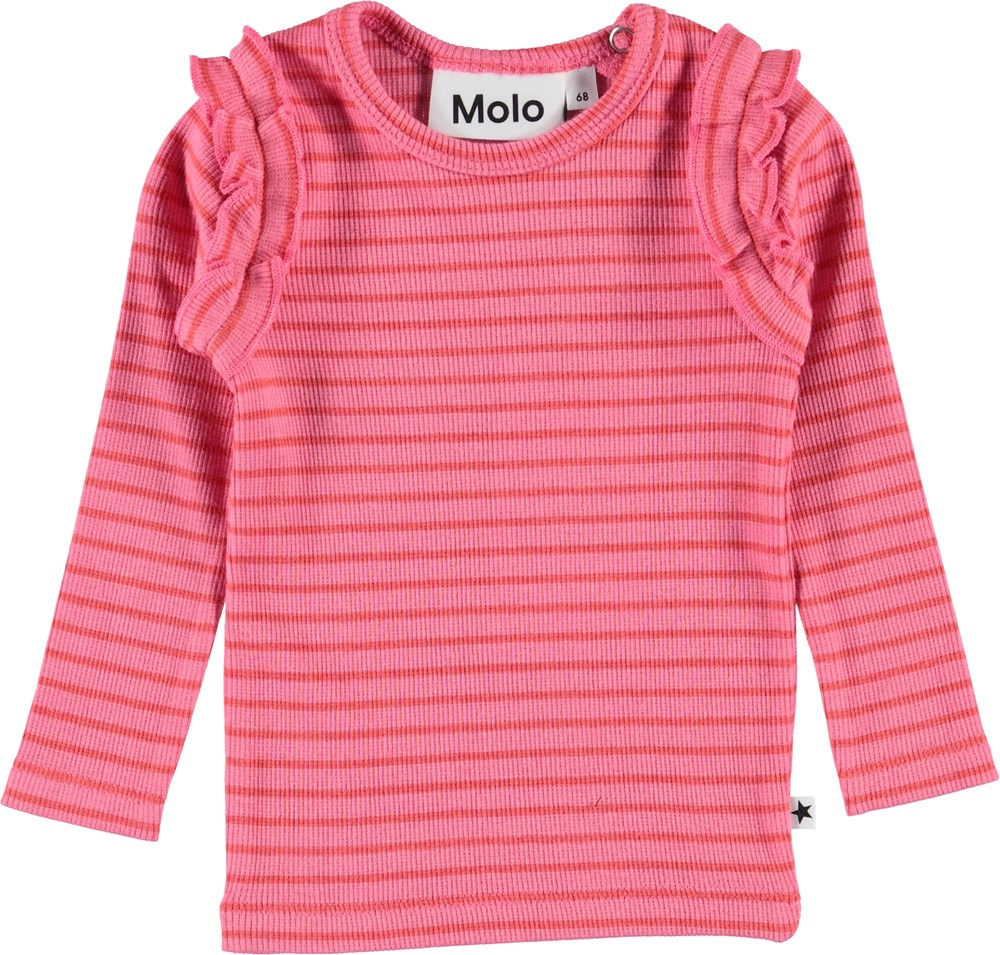 Emma - Pink Sienna Stripe - Baby top in pink with red stripes