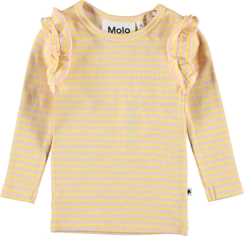 Emma - Powder Acacia Stripe - Baby top in pink with yellow stripes