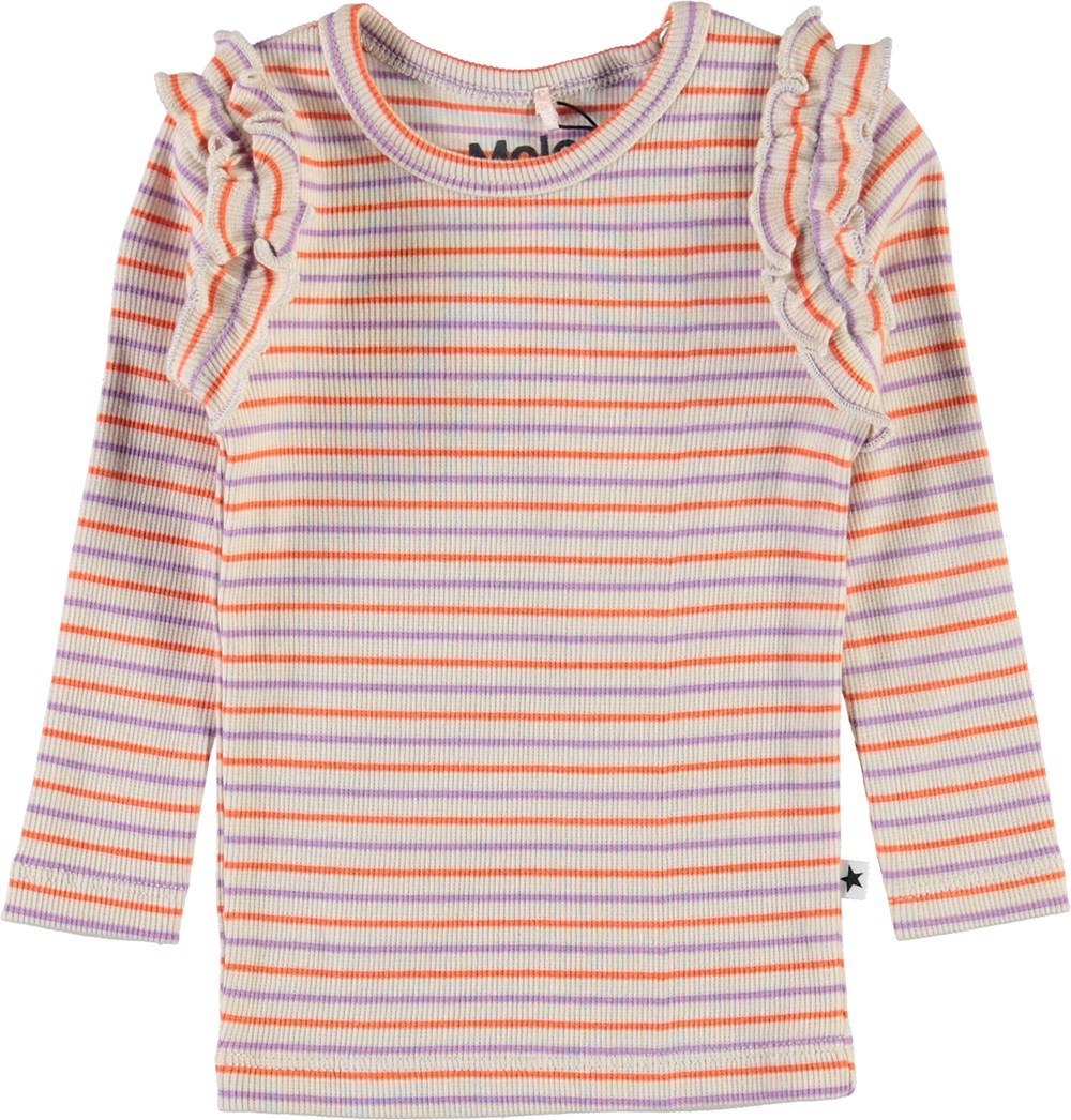 Emma - Purple Orange Stripe - Baby top in rib and stripes