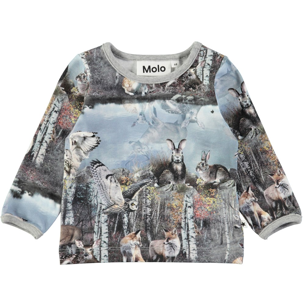 Eva - By The Forest Lake - Baby top with digital animal print m