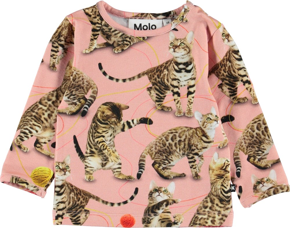Eva - Wannabe Leopard - Pink baby top with cats